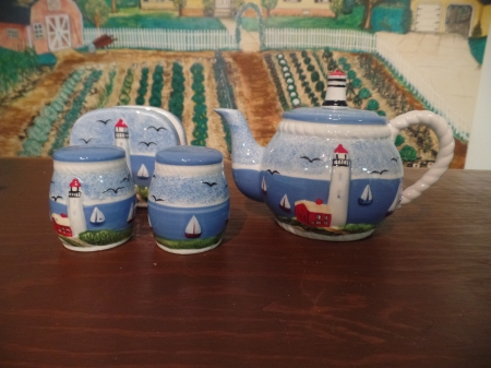 LIghthouse teapot napkin holder and shakers