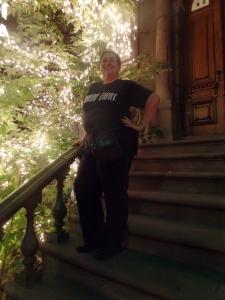 Me on steps of a genuine New York City brownstone