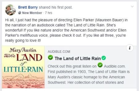 "Capture of Facebook post that ""Maureen"" recorded book"